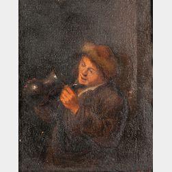 Dutch School, 17th Century      Man in a Fur-lined Cap Peering into an Empty Tankard