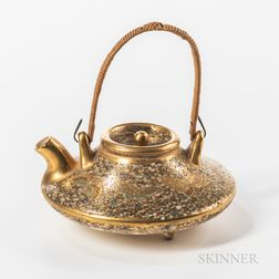 Satsuma Miniature Tripod Teapot with Bamboo Handle