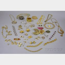 Group of Mostly Gold-tone Costume and Estate Jewelry
