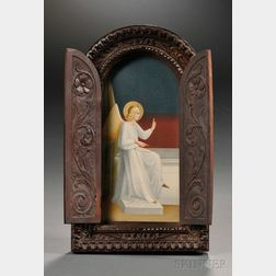 Painting of an Angel in a Carved Wood Frame