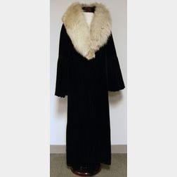 Bonwit Teller Velvet Opera Coat with Fur Collar