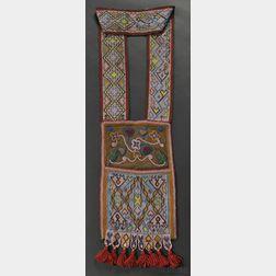 Chippewa Loom Beaded Cloth Bandolier Bag