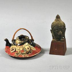 Sumida Ware Teapot and a Bronze Buddha Head