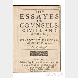 Bacon, Sir Francis (1561-1626) The Essayes or Counsels, Civill and Morall, Newly Enlarged.