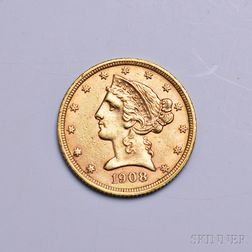 1908 Liberty Head Five Dollar Gold Coin.