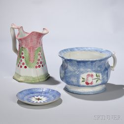 Spatterware Chamber Pot, Pitcher, and Plate