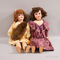 Two German Bisque Head Dolls