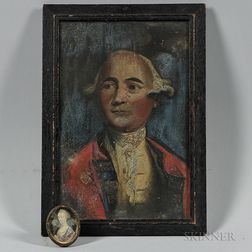 Oil on Tin Portrait of Major General Augustine Prevost and a Miniature Portrait of His Wife Annette Grand