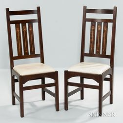 Two Stickley Inlaid Dining Chairs