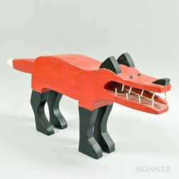 Carved and Painted Red Fox