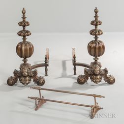 Baroque-style Brass Andirons