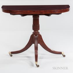 Carved Mahogany Three-legged Card Table