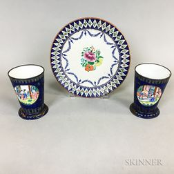 Chinese Export Porcelain Plate and a Pair of Enameled Copper Cups