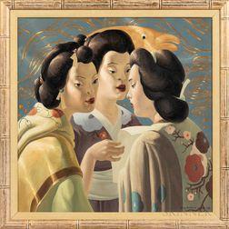 American School, 20th Century      Three Japanese Women.