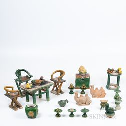 Group of Sancai-style Miniature Tomb Pottery Items