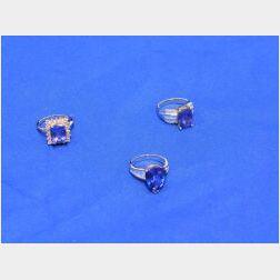 Three Tanzanite and Diamond Rings