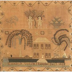 Silk and Linen Pictorial Adam and Eve Needlework Sampler