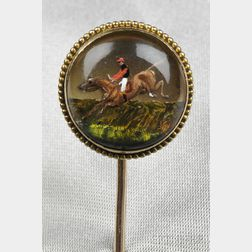Antique 18kt Gold Reverse-painted Crystal Stickpin, France