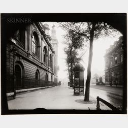 Eugène Atget (French, 1857-1927)      Street View with Kiosk, Paris
