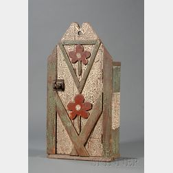 Carved and Painted Folk Art Wall Cupboard