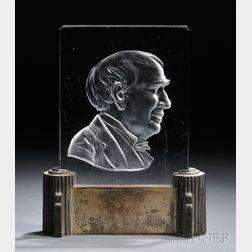Steuben Thomas Edison Plaque Luminar