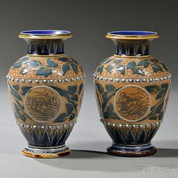 Pair of Doulton Lambeth Florence Barlow Decorated Vases