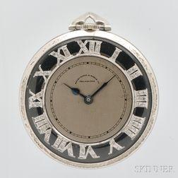 Platinum Open Face Pocket Watch