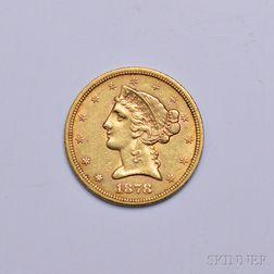 1878-S Liberty Head Five Dollar Gold Coin.