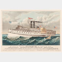"""""""The Grand New Steamboat Pilgrim, the Largest in the World"""" Lithograph"""