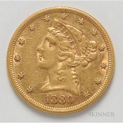 1880 $5 Liberty Head Half Eagle