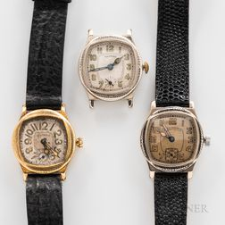 "Three Illinois Watch Co. ""Major"" Wristwatches"