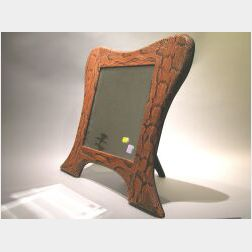 Reptile Skin Mounted Table Mirror Frame.