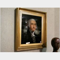 Portrait of George Washington Reverse-Painted on Glass