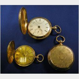 Three Hunting Case Pocket Watches, English and Swiss