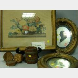 Pair of Framed Reverse-Painted and Mirrored Glass Silhouettes of George and Martha Washington, Four Framed Prints and Three Wooden Butt