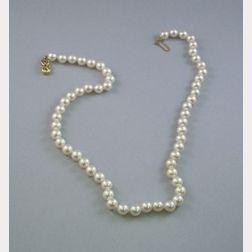 Mikimoto-style Single-strand Pearl Necklace