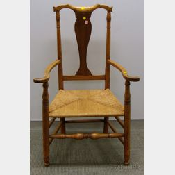 Queen Anne Tiger Maple Armchair with Woven Rush Seat.