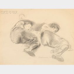 Raphael Soyer (American, 1899-1987)      Two Figures Reclining