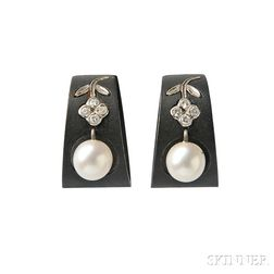 Patinated Steel, Cultured Pearl, and Diamond Earclips, G.T. Marsh & Co.