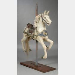Small Carved and Painted Wooden Prancing Carousel Horse