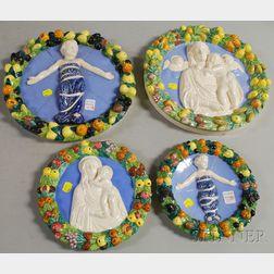 Two Pairs of Italian Della Robbia-type Ceramic Roundels