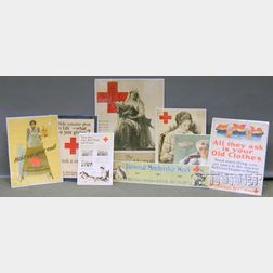 Eight WWI Red Cross Lithograph Posters