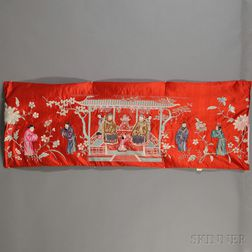 """""""Longevity"""" Embroidered Red Silk Panel"""