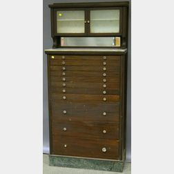 Mahogany, Glass, and Mirrored Dentist's Cabinet with Contents