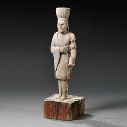 Carved Wooden Countertop Cigar Store Indian Figure