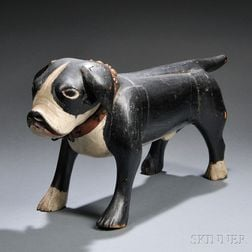 Rare Painted Wood Carving of a Boston Bull Terrier