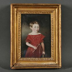 Anglo-American School, 19th Century      Small Portrait of a Boy in a Red Dress Holding a Riding Crop.