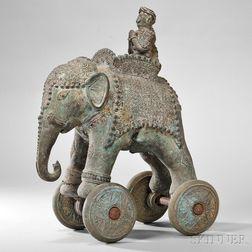 Bronze Toy Elephant on Wheels