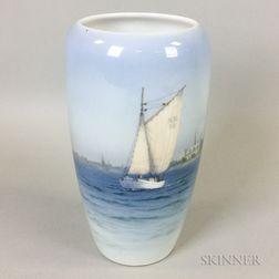 Royal Copenhagen Porcelain Vase Depicting Sailboats