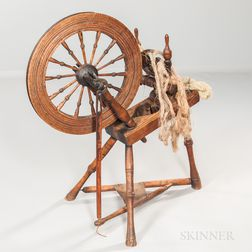 Heart-decorated Carved Maple Spinning Wheel